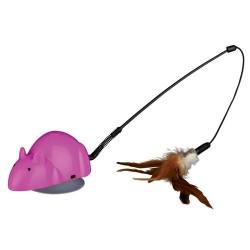 Kattelegetøj Crazy Mouse med udskiftelige legetøj. 12 cm.