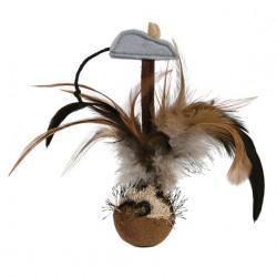 Bobo Fjerbold med lille grå mus. Med lyd. Måler ca. 15 cm