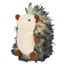 Gråt plys-pindsvin med lyd og catnip. Måler ca. 8 cm.