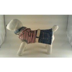 Doggydolly kjole Pink/grå stribet med dødningehoved på ryg samt blå denim underdel.