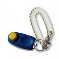 """Karen Pryor Clip-On-Clicker med hvidt """"armbånd"""", der har monteret en karabinhage. Ass. farve"""