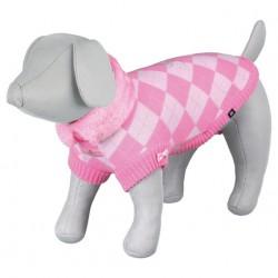 Dog Princess strik-pullover. Lyserød/pink-ternet.