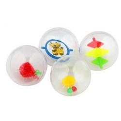 Kattelegetøj gennemsigtige plastik bolde med sjove ting indeni, der bevæger sig. 4 stk.