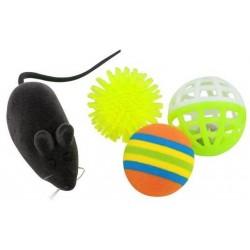Kattelegetøjpakke med 1 mus og 3 forskellige bolde