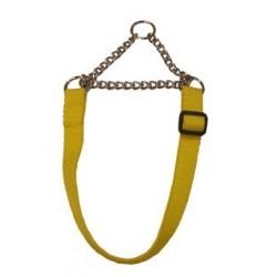 GS Jagthalsbånd i Gult nylon med kæde