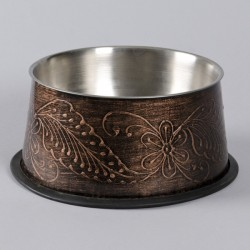 Bella cocker skål i mørk bronzefarve med bladmønstre