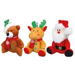 Julebamser i plys med lyd 1 stk. Ass. varianter.