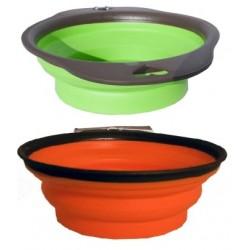 Sammenklappelig skål i gummi.1 stk. Ass. farver