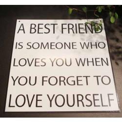 """""""A best friend...."""" metalskilt. Måler ca. 16 x 17 cm."""