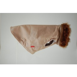 DoggyDolly guldbrun vinterjakke med pels.