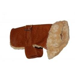 """Hundedækken brun læderlook m. """"pelskrave"""""""