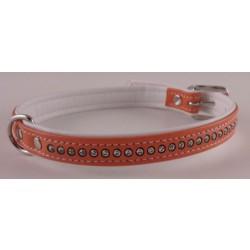 """Hunter halsbånd med 1 række """"diamanter"""". Orange med hvid bagside. Str. 27 cm"""