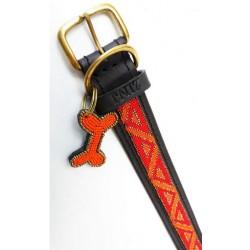 """""""Kabaka Neon"""" eksklusivt håndlavet hundehalsbånd med orange perler"""